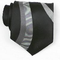 Silk Black/Grey/White Woven Necktie (Item # : SW433-A)