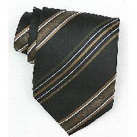 Silk Black/Gold/White Woven Necktie (Item #: SW435-A)