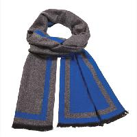 Cashmere feel Extra long scarf with double layered colors Scarf (Grey / Blue)