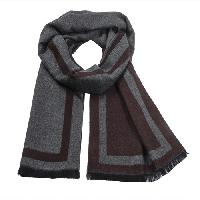 Cashmere feel Extra long scarf with double layered colors Scarf (Brown / Charcoal)