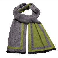 Cashmere feel Extra long scarf with double layered colors Scarf (Green / Grey)