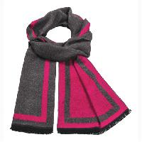 Cashmere feel Extra long scarf with double layered colors Scarf (Hot Pink/ Charcoal)