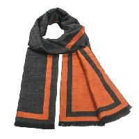 Cashmere feel Extra long scarf with double layered colors Scarf (Orange / Charcoal)