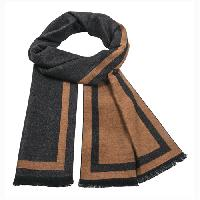 Cashmere feel Extra long scarf with double layered colors Scarf (Rust / Charcoal)