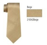 100% Silk Solid Necktie With Handkerchief Color: 42 Beige