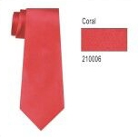 100% Silk Solid Necktie With Handkerchief Color: 6 Coral
