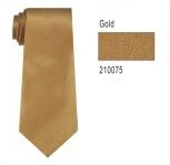 100% Silk Solid Necktie With Handkerchief Color: 75 Gold