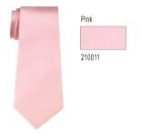 100% Silk Solid Necktie With Handkerchief Color: 11 Pink