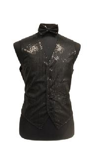 VS1200 Sequin Vest/bow tie set Black