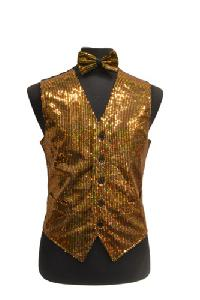 VS1200 Sequin Vest/bow tie set Gold