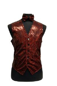 VS1200 Sequin Vest/bow tie set Red