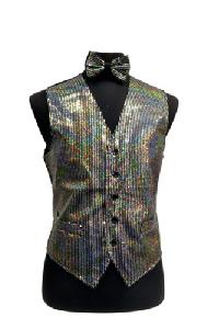 VS1200 Sequin Vest/bow tie set Silver Grey