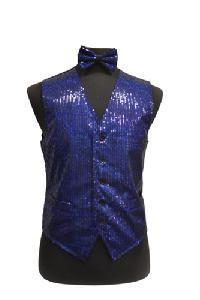 VS1200 Sequin Vest/bow tie set Royal Blue