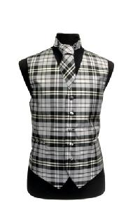 VS2012: Polyester Plaids Vest/tie sets: Pat# 1015 Black / White / Grey
