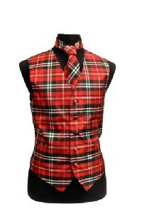 VS2012: Polyester Plaids Vest/tie sets: Pat# 1015 Black / White / Red