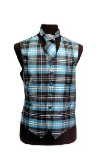 VS2012: Polyester Plaids Vest/tie sets: Pat# 1015 Black / White / Turquoise
