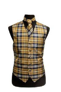 VS2012: Polyester Plaids Vest/tie sets: Pat# 1015 Navy / White / Brown