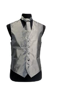VS3910 Metallic Chinz Vest/tie/hankie/bowtie set M. Grey