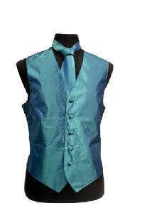 VS3910 Metallic Chinz Vest/tie/hankie/bowtie set Teal