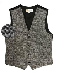 VS815 Slim Fit Wool Tweed Vest with inner pocket Black / White