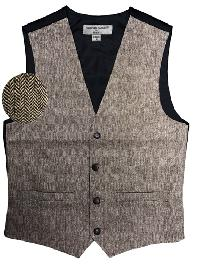 VS815 Slim Fit Wool Tweed Vest with inner pocket Beige / Brown
