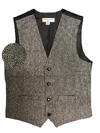 VS815 Slim Fit Wool Tweed Vest with inner pocket Black / Gray
