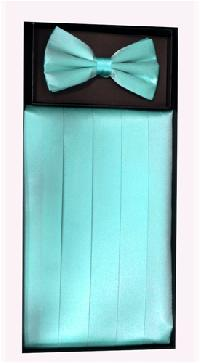 Cummerbund and Bowtie Set (Aqua Silk Satin)