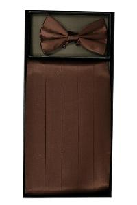 Cummerbund and Bowtie Set (Brown Silk Satin)