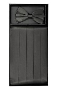 Cummerbund and Bowtie Set (Charcoal Silk Satin)