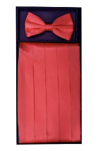 Cummerbund and Bowtie Set (Coral Silk Satin)