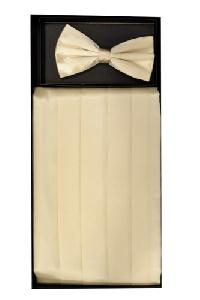 Cummerbund and Bowtie Set (Cream Silk Satin)