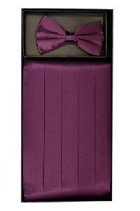Cummerbund and Bowtie Set (Eggplant Silk Satin)