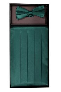 Cummerbund and Bowtie Set (Hunter Green Silk Satin)