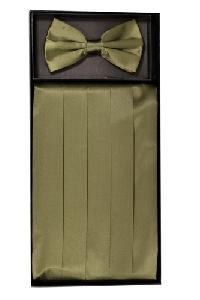 Cummerbund and Bowtie Set (Olive Silk Satin)