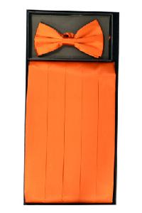 Cummerbund and Bowtie Set (Orange Silk Satin)