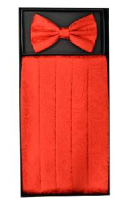 Cummerbund and Bowtie Set (Paisley Red)