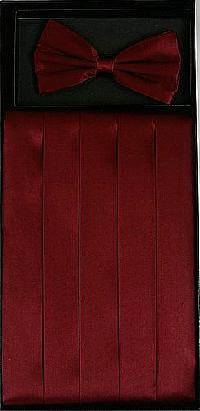 Cummerbund and Bowtie Set (Burgundy Silk Satin)
