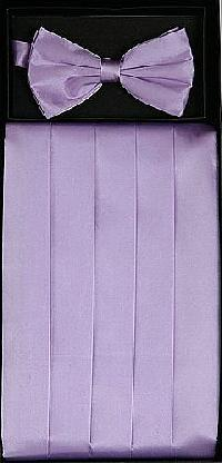 Cummerbund and Bowtie Set (Lilac Silk Satin)