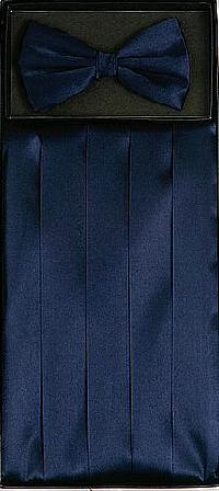 Cummerbund and Bowtie Set (Navy Blue Silk Satin)