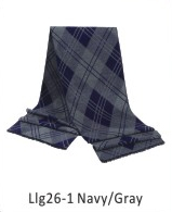 Scarf Pattern 73 x 13 in Navy / Gray