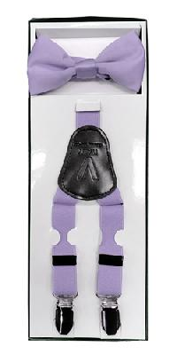 2Pcs Boy's Suspender Set Y-Back Lavender (Suspender/Bow)