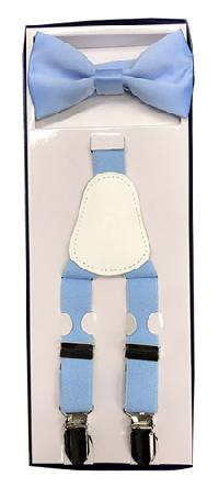 2Pcs Boy's Suspender Set Y-Back Light Blue (Suspender/Bow)