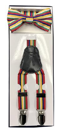 2Pcs Boy's Suspender Set Y-Back Rainbow (Suspender/Bow)