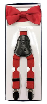 2Pcs Boy's Suspender Set Y-Back Red (Suspender/Bow)