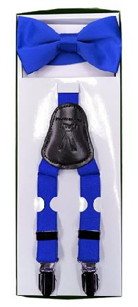 2Pcs Boy's Suspender Set Y-Back Royal Blue(Suspender/Bow)