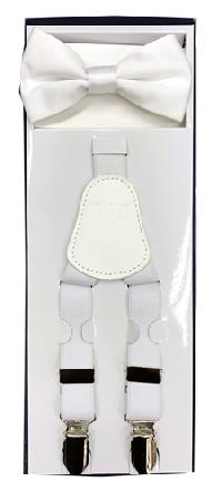 2Pcs Boy's Suspender Set Y-Back White (Suspender/Bow)