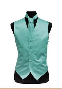 VS1010 Plain Satin Vest Tie Set Aqua