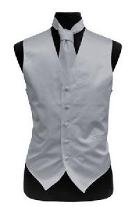 VS1010 Plain Satin Vest Tie, Bowtie, Hanky 4pcs set EXTRA BIG Silver Gray
