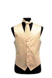 VS1010 Plain Satin Vest Tie Set Beige