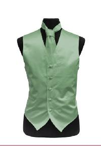 VS1010 Plain Satin Vest Tie Set Laurel Green